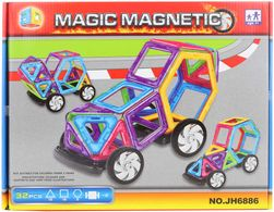 Stavebnice magnetická auto skládačka set 32 dílků v krabici plast SR_894101