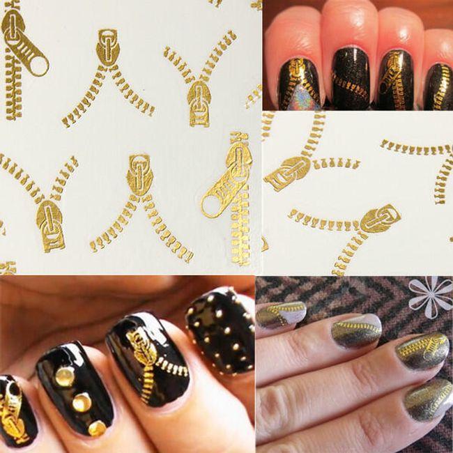 20 komada ukrasa za nokte u patent zatvaraču - zlatne boje 1