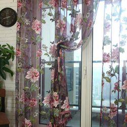 Zavesa s cvetovi vinsko rdeča, velikost 100 x 250 cm