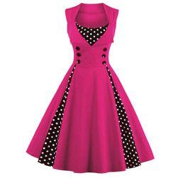 Retro šaty s puntíky - mix barev Růžová M/L