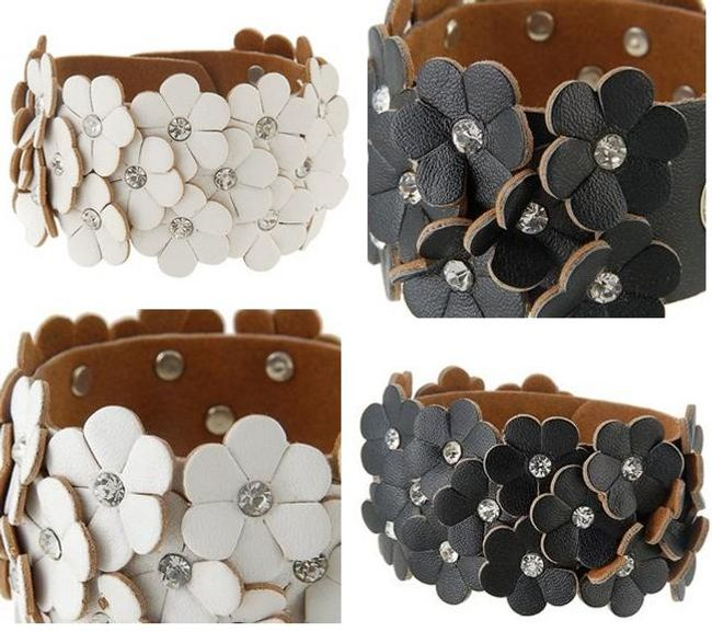 Kožený náramek s kytičkami a třpytivými kamínky - na výběr ze 2 barev 1