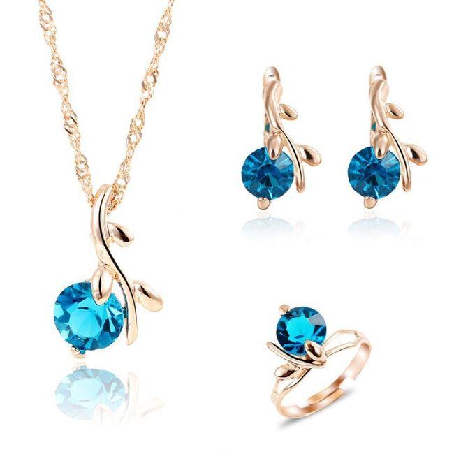 Sada šperků s modrými krystalky 1