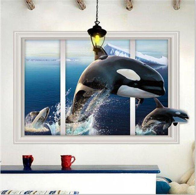 Autocolant 3D pentru perete - balene 1