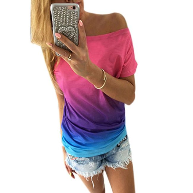 Ženska majica v mavričnih barvah s spuščenim ramenom 1