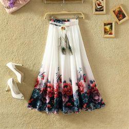 Lekka długa letnia spódnica - biała w kwiaty