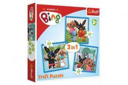 Puzzle 3v1 Bing Bunny Zábava s přáteli v krabici 28x28x6cm RM_89034851
