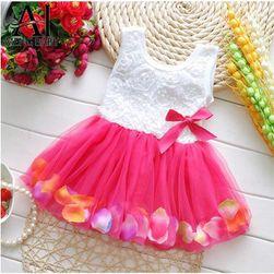 Elegancka dziewczęca sukienka z dołem z delikatnej siateczki - 4 kolory
