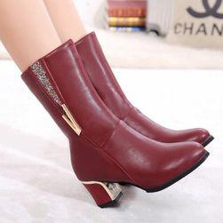 Dámské koženkové boty na podpatku - 2 barvy
