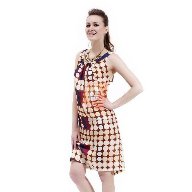 Dámské letní šaty s kulatým výstřihem a rukávy - vel. L 1