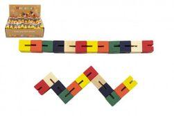 Puzzle kígyó színű fa 16cm-es egy zsákban RM_00821117