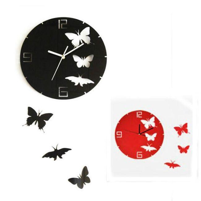 Nástěnné hodiny s motivem motýlů ve 2 barevných provedeních 1