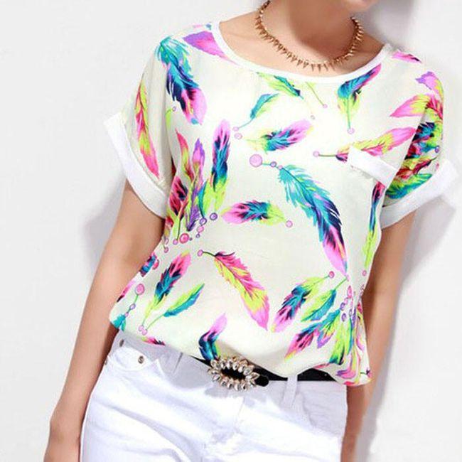 Dámské triko s barevnými pírky - 3 1