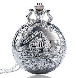 Gümüş renkli lokomotif motifli cep saati
