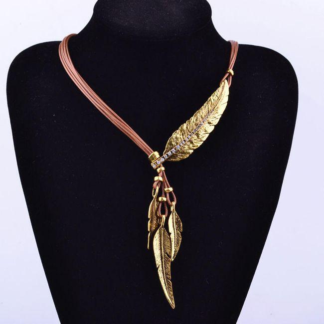 Dámský náhrdelník z umělé kůže a peříčky - 3 barvy 1