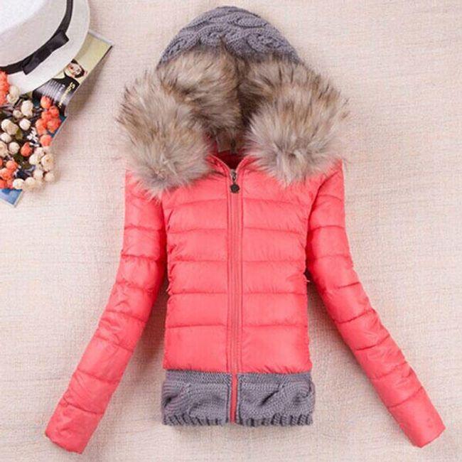 Dámská zimní bunda Gemma - Melounově růžová-M 1