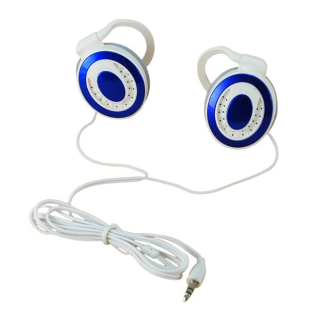 Stereo sluchátka Earhook 3,5mm - modrobílá 1