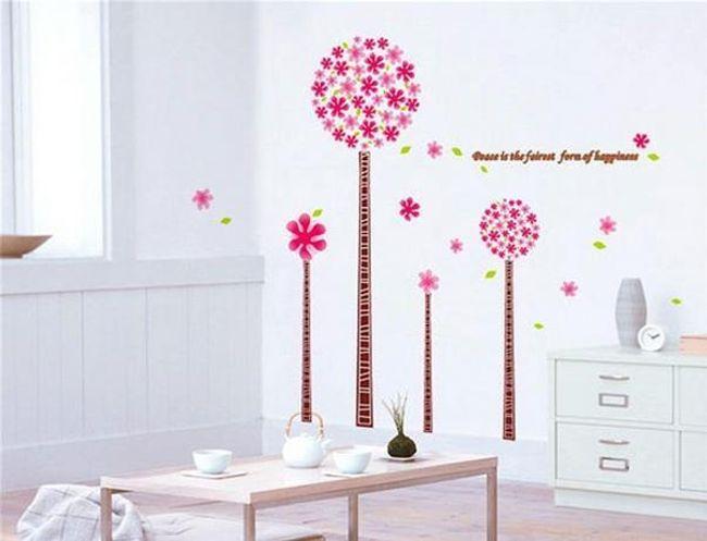 Samolepka na zeď - stromy s růžovými květy 1