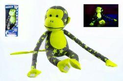 Opica svietiace v tme plyš 45x14cm sivá / žltá v krabici RM_00515006