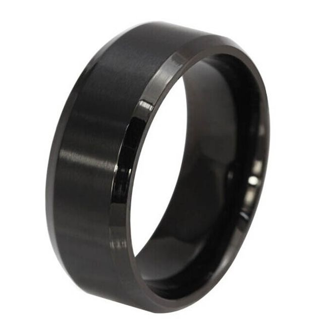 Черное гладкое кольцо в нескольких размерах 1