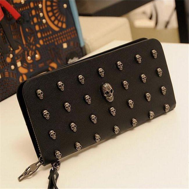 Dámská dlouhá peněženka s lebkami - černá 1