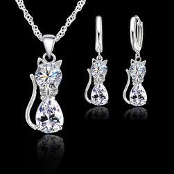 Set elegant de cercei și colier cu pandantive pisici