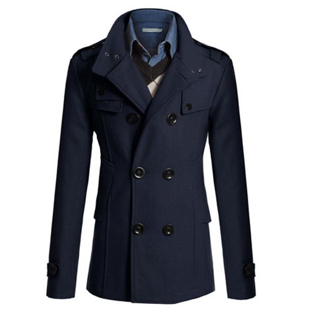 Elegantní pánský kabát Tobias - Modrá-L 1