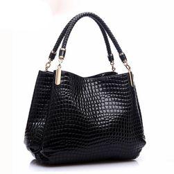 Luksusowa, błyszcząca damska torebka z trzema kieszeniami