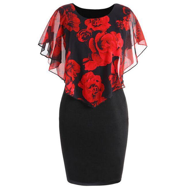 Dámské šaty Ericka v plus size velikostech - Červená-XL 1