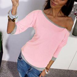 Bluzka ze zsuniętym rękawem - różowa, rozmiar 2