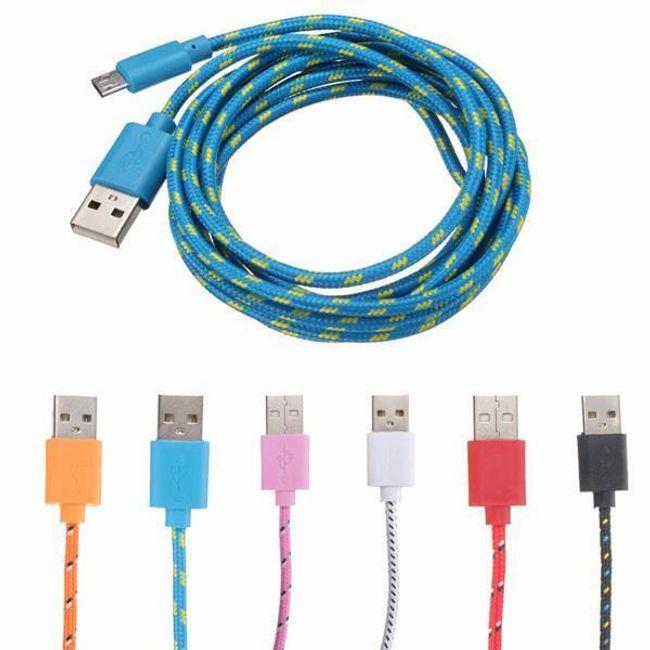 2 m-es Micro USB textilkábel - 6 szín 1