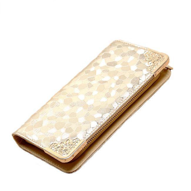 Dlouhá peněženka s kamínkovým vzorem a zdobenými rohy - 3 barvy 1