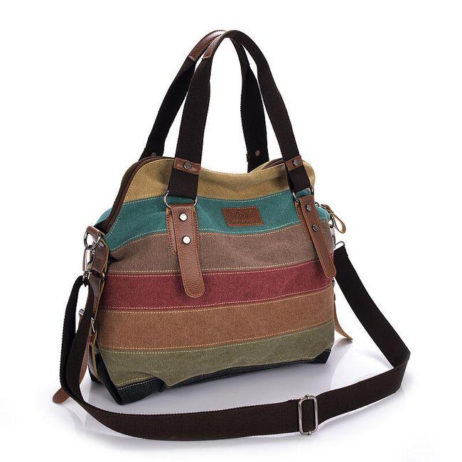 Pruhovaná plátěná taška s madlem 1