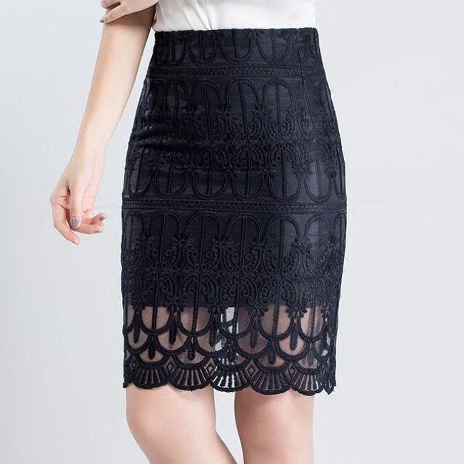 Pouzdrová sukně s krajkovou aplikací 1