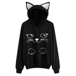 Ženski pulover z motivom mačke
