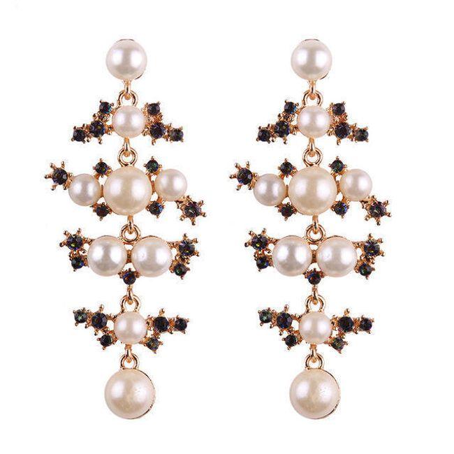 Výrazné náušnice s umělými perličkami 1