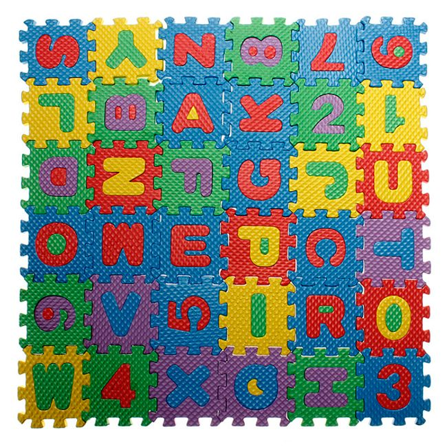Barevné pěnové puzzle - abeceda a číslice 1