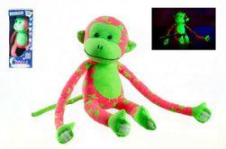 Opice svítící ve tmě plyš 45x14cm růžová/zelená v krabici RM_00515007