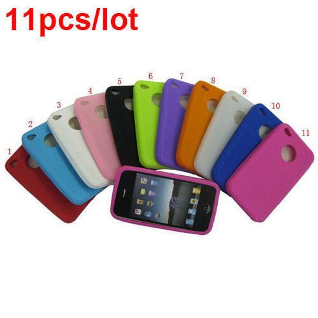 11ks barevné silikonové ochranné pouzdro pro iPhone 4 a 4S 1
