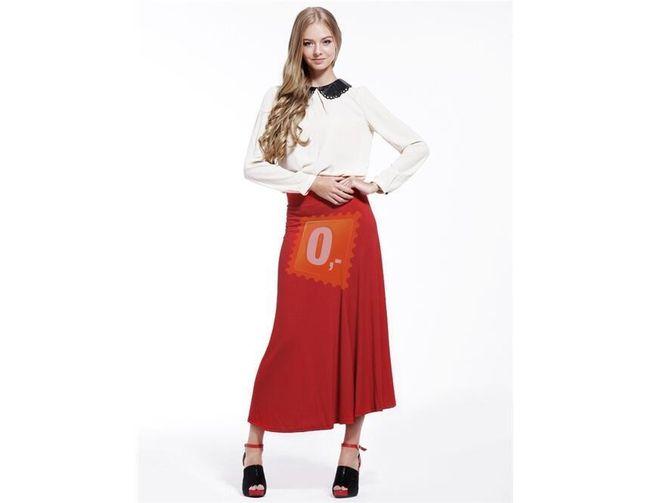 Dámská bavlněná dlouhá sukně - červená 1