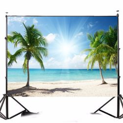 Stúdió fotó háttér 210 x 150 cm - Pálmafákkal borított tengerpart