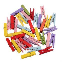 Dřevěné kolíčky v pestrých barvách - 100 kusů