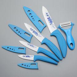 Konyhai kerámia kések halmaza díszített pengével - kék