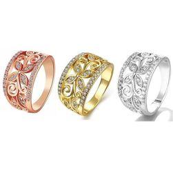 Damski szeroki pierścionek z kwiatem i kamyczkami