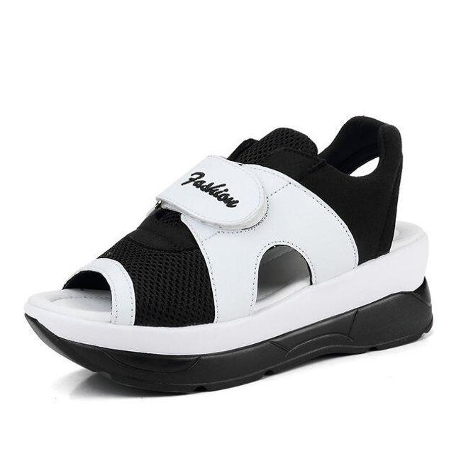 Dámské turistické sandále na suchý zip - Černobílá-24 cm (vel. 38) 1