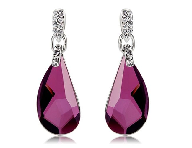 Elegantní náušnice s oválným fialovým kamenem 1