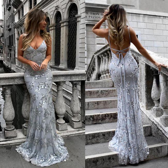 Luxusní šaty s úzkými ramínky - Šedá-velikost č. 4 1