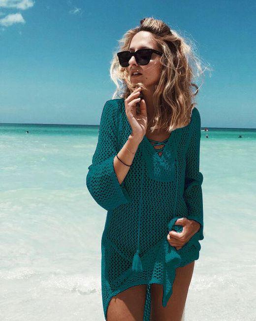 Plážové šaty se šněrováním - Zelenomodrá 1