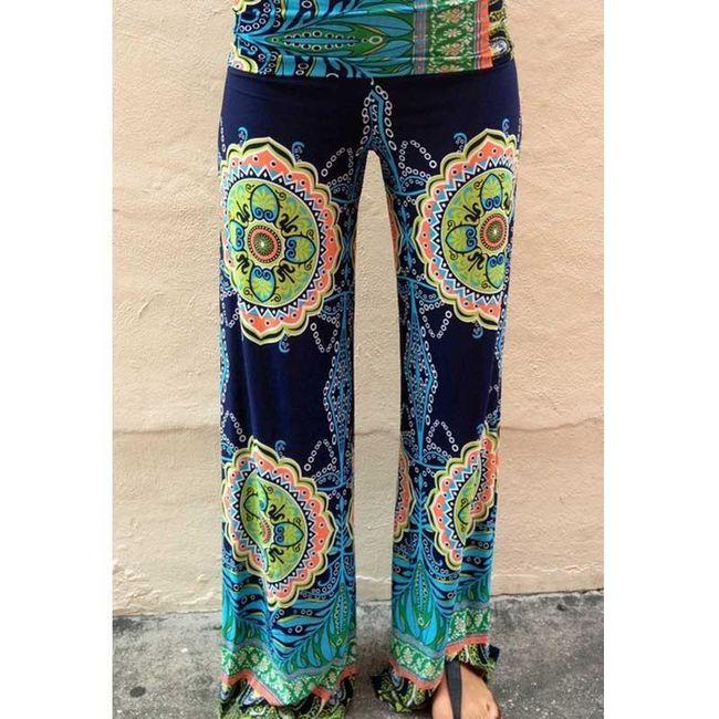 Ženske hlače v palazzo slogu z zanimivim motivom - velikost 1 1