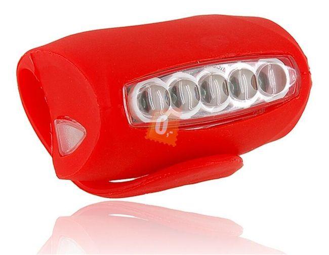 Univerzální silikonové světlo (blikačka) na kolo 5+2 LED červená barva 1