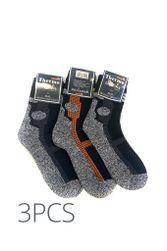 Hrubší termo ponožky 3pcs unisex 70510 šedočerná PR_P40205
